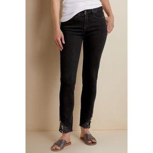 Soft Surroundings Jeans - Soft Surroundings Lace Slim Ankle Jeans Black 8